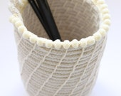 Handmade 'Nude' Desk Cup with Pom Pom Trim: Rope / Coiled / Small / Basket from Australia
