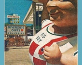 Fridge Magnet image of icon Big Boy of Hamburger restaurant fame Kip's Shoney's checkered overalls
