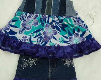 RAG DOLL Swing top  HALTER and Skirt set, size 2/3 Hawaiian Print, Purple, blue, white, and Denim, with Sparkles