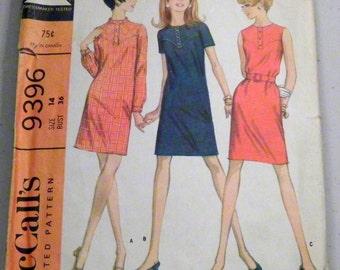 "1960 Yoked Sheath Dress in 3 versions Sleeveless sewing pattern McCalls 9396 Size 14 Bust 36"""