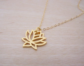 Yoga Lotus Flower 14k Gold Filled Dainty Necklace / Gift for Her