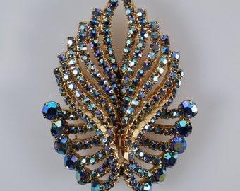 Blue Rhinestone Pin, Aurora Borealis Pin, Vintage Gold Tone Aurora Borealis Rhinestone Pin Brooch