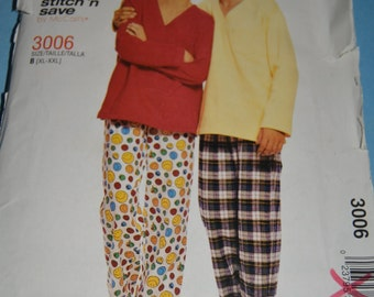 Stitch n Save 3006 Misses Men's and Teen Boys Top and Pull on Pants Sewing Pattern - UNCUT - Sizes XL - XXL