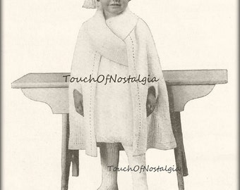 Dress CAPE ANGORA Collar Antique Knitting Pattern - Toddlers/Girls Long Dress CAPE w/Wide Angora Wrap Collar /  Special Occasion