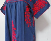 Embroidered Mexican Blouse Split Sleeve Cotton Top In Blue