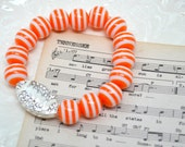 Football Stretch Bracelet- Tennessee Stretch Bracelet-  Football Bracelet-  Orange White Bracelet- UT Fan Bracelet - THe VOLS