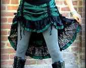 Steampunk Bustle Skirt ~ Green or Teal/blue W/Black lace  ~ Small to Extra Large XL ~ Victorian Gothic Paris Charm ~ Drawstring Ties Ruching