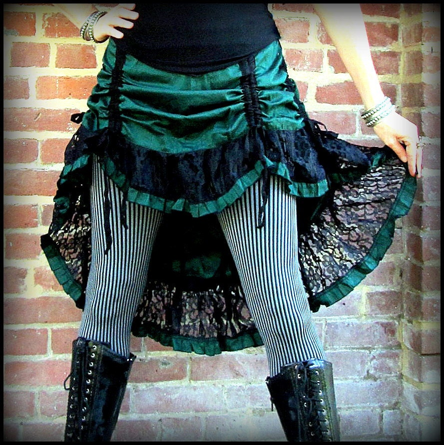 steampunk bustle skirt green or tealblue wblack lace