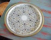 Large Mid-Century Round Metal Tray // 13-Inch White Taupe and Gold Ancient Venetian Motif // Spic & Span Promo