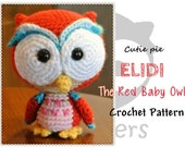 Elidi the Red Baby Owl (PDF Pattern)