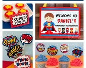 Super Kid Birthday Party - DIY PRINTABLE Personalized Package FULL Collection - H4a