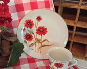 Vintage Cup and Plate - Saltera The Painted Daisy Snackplate and Cup - Vintage Daisy - Snackplate Set - Red Vintage Daisy Flower