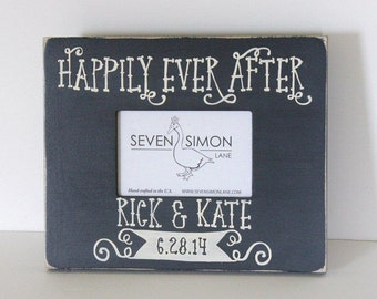 wedding frame, personalized wedding frame, happily ever after, wedding gift