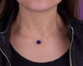 Blue Lapis necklace / Lapis Lazuli necklace / Gold Filled necklace/ Silver necklace/ Royal blue jewelry / Single stone necklace | Adrasteia