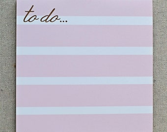 pink stripe notepad