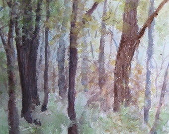 """Spring in the Forest -Watercolor Landscape Painting 12x16"""" Original Artwork, nature art, impressionist"""