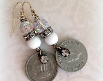 Vintage Coin Assemblage Earrings Lion Medal Rhinestone Crystals Boho Style by WinterPearlsDesigns Winter Pearls Designs