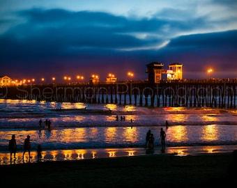 Ocean Photography - Night Photography - Blue Ocean Surf - Moody - Beach Photo - Sunset  8x12 8x8 10x10 11x14 12x12 20x20 16x24 - Photography