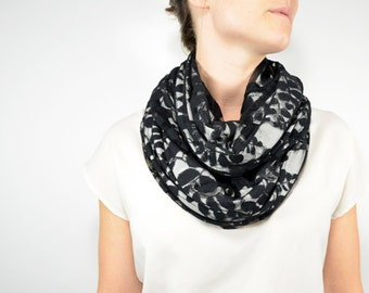 Sophia Lace Reversible Infinity Scarf - Creme with Black Lace