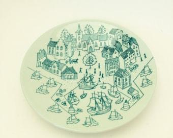Gray Blue Plate , Mid Century Danish Faience ,  Nymolle Faience Hoyrup Scandinavian