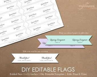 Printable Drink Flags, DIY Mini Flags // Printable Party Flag, Wedding Toothpick Flags // Drink Label Flags, Bridal Shower Decor