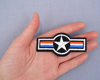 Iron-On Military Style Patch Star and Bars Red, White, and Blue
