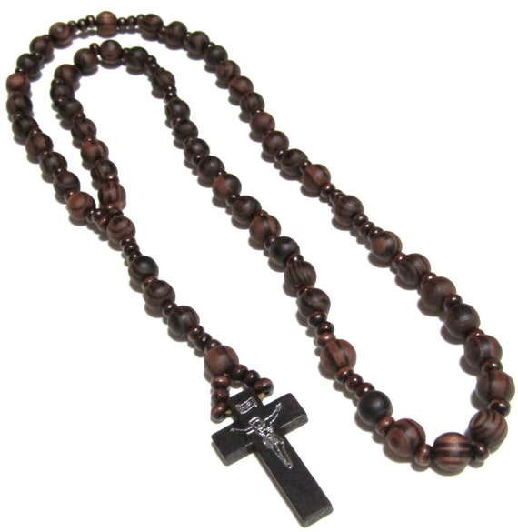 brown rosary necklace wooden rosary brown wood rosary