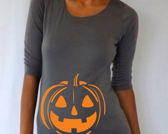 Maternity Halloween shirt with pumpkin , Halloween shirt, bump design, costume