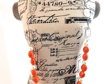 Orange and White Beaded Chain Necklace