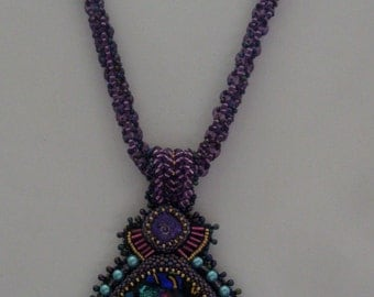 OOAK Embellished Purple Glass Cab Necklace with Netted Rope