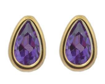14Kt Yellow Gold Alexandrite Pear Bezel Stud Earrings