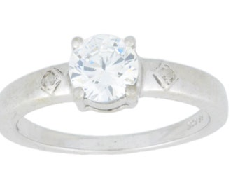 1 Ct White Sapphire & Diamond Round Ring .925 Sterling Silver Rhodium Finish