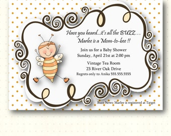 Baby Shower Invitation, invite, bees, sprinkle, gender neutral, gender reveal, digital, printable, B1432