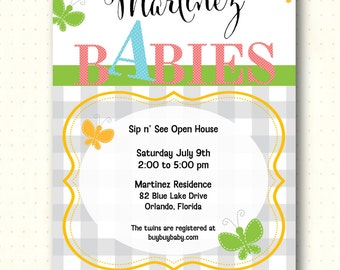 Twins Sip and See Invitation, baby, gray, gingham, chevron, adoption, sip n see, butterfly, digital, printable, invite, B1463
