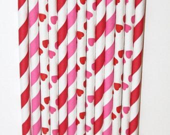 50 Valentines Hearts stripe straws paper straws birthday party wedding cake pop sticks Bonus diy straw flags