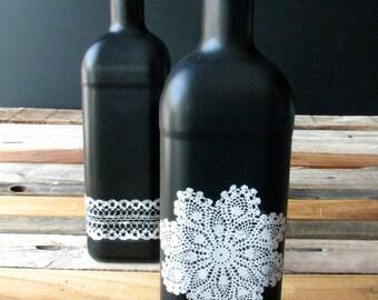 Two (2) Chalkboard Bottles with Lace Pattern Detail