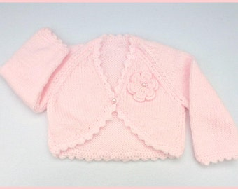 Baby girl hand knitted pale pink baby bolero cardigan to fit 0 to 3 months