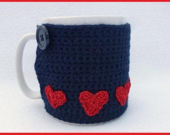 Valentines day, Crochet mug cozy. Navy blue crochet mug warmer. Homewares, Birthday gift, Christmas gift, Valentines gift, Stocking stuffer.