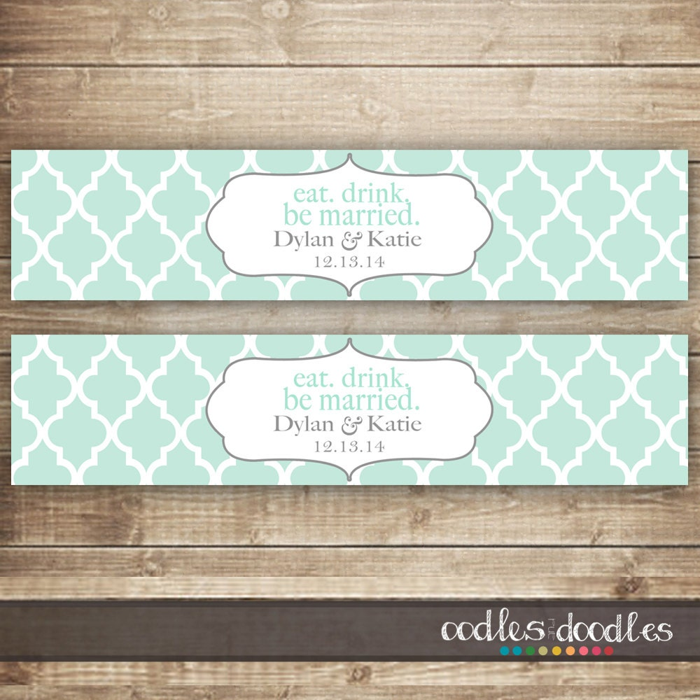 Water Bottle Name Tags: Personalized Wedding Water Bottle Labels / Wedding Bridal