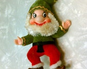 Vintage Retro Mid Century Modern Green & Red Kitschy Flocked Elf Ornament Dwarf Disney-esque
