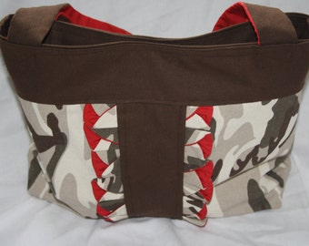Ruffled Camouflage Tote