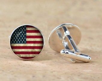United States Flag cuff links ,US Flag cufflinks,American Flag Men women accessories Vintage