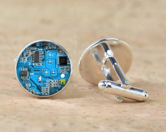 Computer  Blue Circuit Board  picture Cufflinks  Computer Geek Cuff links Nerd Accessories  Geek Gift