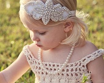 Flower Girl Headband, Crystal Headband, Rhinestone Headband, Bridal Headband, Gatsby Headband, Bling Headband, Wedding Headband