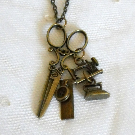 Sewing Necklace Scissors Necklace Sewing Machine Necklace