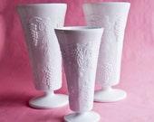 Indiana Glass Harvest Grapes Milk Glass Vase, Choose Size