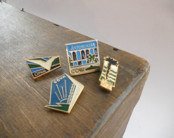 Soviet vintage Sochi pins Metal pins Set of 4 USSR era badges 1970s Sochi olympics