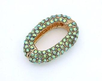 Pave Rhinestone Beads, Chain Link for Bracelet and Necklace, with Peridot Rhinestones, 29x21mm, Pkg of 1 PCS, L0C9.RH25.P01
