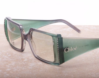 Chloè made in Italy vintage square wrap sunglasses light green with rhinestones NOS