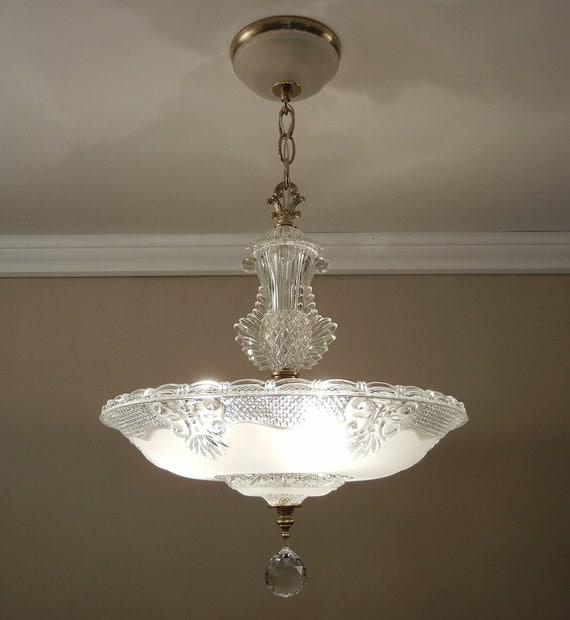 Antique Light Chandelier 1930 40 39 S Vintage Crystal Frosted